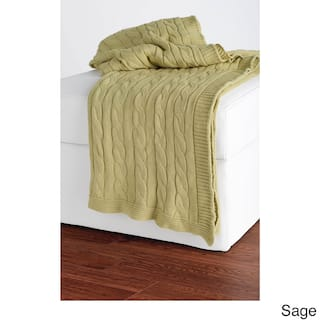 Plush Cable Knit Throws By Rizzy Home Option Green