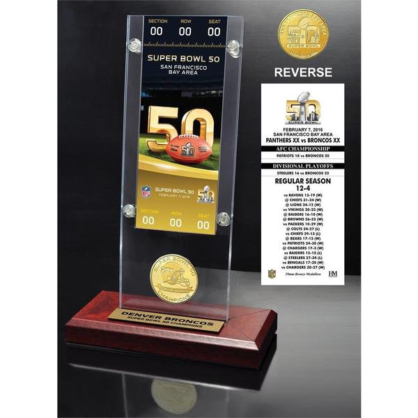 Denver Broncos Super Bowl 50 Champions Ticket & Bronze Coin Acrylic Desktop