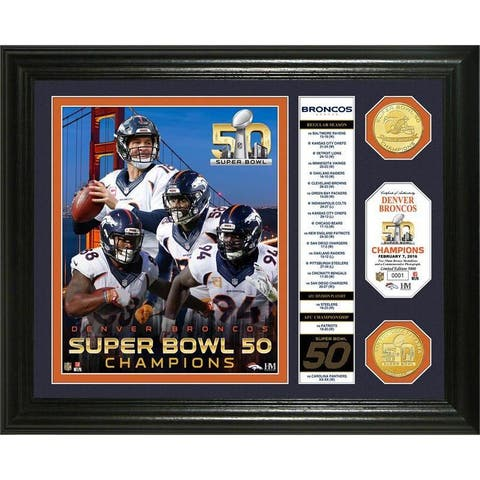 "Denver Broncos Super Bowl 50 Champions ""Banner"" Bronze Coin Photo Mint"