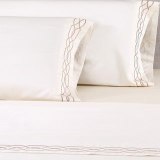 Affluence 600 Thread Count Lattice Embroidered Sheet Set