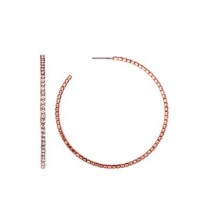 Isla Simone - Rose Plated J-Hoop Earring with Crystal