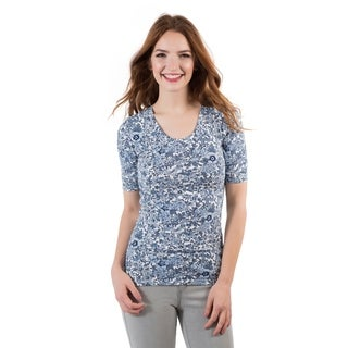 DownEast Basics Women's Floral Half Sleeve T-Shirt