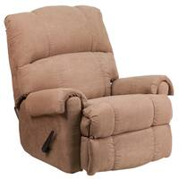 Victory Lane Taupe Fabric Contemporary Rocker Recliner