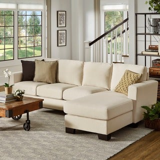 Torrington Linen Nailhead Track Arm L-shaped Configurable Chaise Sectional by INSPIRE Q