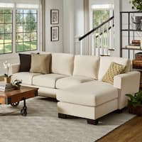 Torrington Ivory Linen Track Arm Sofa with Chaise by iNSPIRE Q Classic