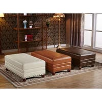 Castillian Premium Selected Royal Stitching Ottoman Bench with Nailhead Trims