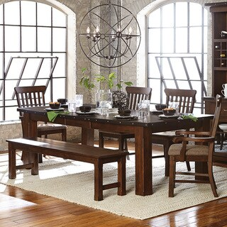 Norwood Antique Oak Finish Extending Table Dining Set