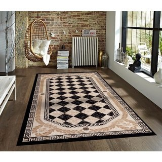 Persian Rugs Tobis Collection Black Rug (5'2 x 7'2)