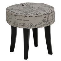 Palm Canyon Alamos Stool in Script Linen Fabric