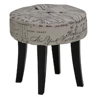 Cortesi Home Harman Stool in Script Linen Fabric