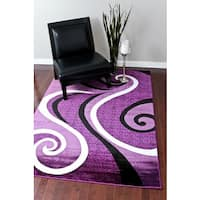 Persian Rugs Modern Trendz Collection Purple Rug - 5'2 x 7'2