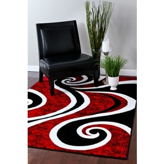 Persian Rugs Modern Trendz Collection Red/ Black Rug (5'2 x 7'2)