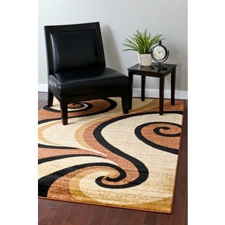 Persian Rugs Modern Trendz Collection Black/ Beige Rug (5'2 x 7'2)