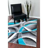 Persian Rugs Modern Trendz Collection Turquoise/ Grey Rug - 5'2 x 7'2