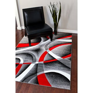 Persian Rugs Modern Trendz Collection Red/Grey Rug (5'2 x 7'2)