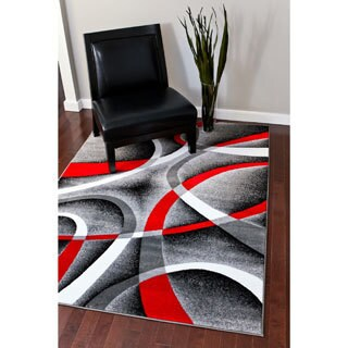 Persian Rugs Modern Trendz Collection Red/Grey Rug (5'2 x 7'2) - Grey - 5'2 x 7'2