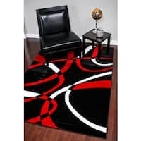 Persian Rugs Modern Trendz Collection Red Rug - 5'2 x 7'2