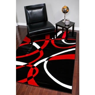 Persian Rugs Modern Trendz Collection Red Rug (5'2 x 7'2)