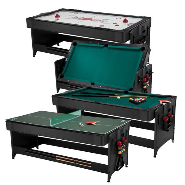 Fat Cat 64-1046 Original 3-in-1 7-foot Pockey Game Table Billiards/ Air Hockey/ Table Tennis - Black