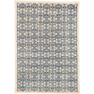 ecarpetgallery Keisari Beige/ Grey Wool Rug (5'3 x 7'7)