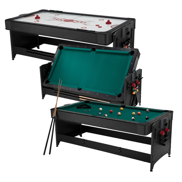 Fat Cat 64-1010 Original 2-in-1 7-foot Pockey Game Table (Billiards and Air Hockey) - Black