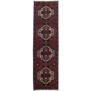 ecarpetgallery Kazak Blue/ Red Wool Rug (2'3 x 7'10)