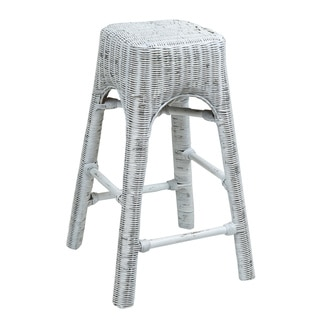 Crafted Home Crystal Rattan Barstool - Antique White