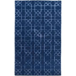 Hand-Knotted Dawlish Geometric Indoor Wool Area Rug (Navy - 8 x 10)