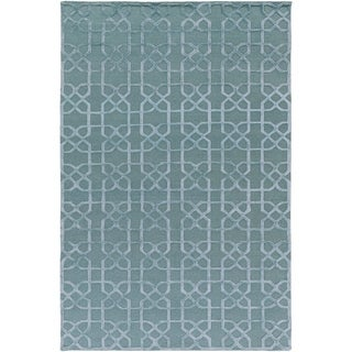 Hand-Knotted Dawlish Geometric Indoor Wool Area Rug (Moss - 8 x 10)