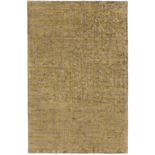 Hand-Woven Fazeley Geometric Viscose Area Rug (12' x 15') - 12' x 15' (Option: Yellow - Camel)