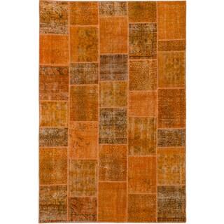 ecarpetgallery Color Transition Patch Orange Wool Rug (6'7 x 9'9)