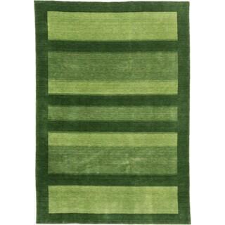ecarpetgallery Luribaft Gabbeh Riz Green Wool Rug (6'9 x 9'10)