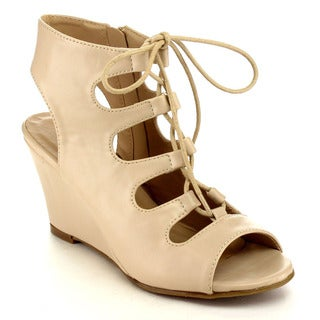 Beston EA98 Women's Chic Lace Up Wedge Sandals