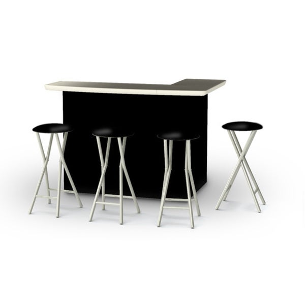 Shop Best of Times Solid Portable Patio Bar with Stools ... on Safavieh Outdoor Living Horus Dining Set id=18194