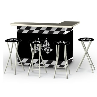 Best of Times Racing Checkered Flags Portable Patio Bar with Stools
