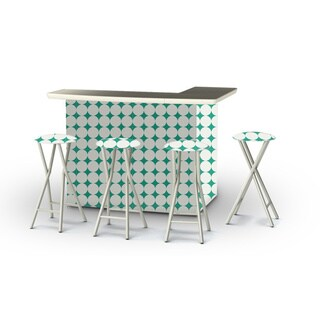 Best of Times Diamonds and Dots Portable Patio Bar with Stools