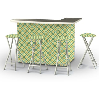 Best of Times Portable Patio Bar with Stools, Caddy Plaid
