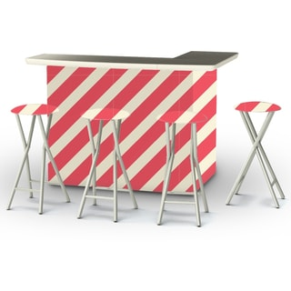 Best of Times Candy Striper Portable Patio Bar with Stools