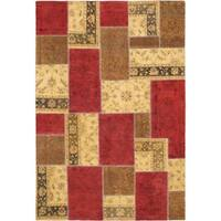 ecarpetgallery Oushak Patch Red/ Yellow Wool Rug - 6'3 x 9'2