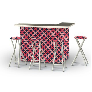 Best of Times Vintage Floral Portable Patio Bar with Stools