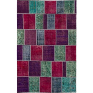 ecarpetgallery Color Transition Patch Pink/ Purple Wool Rug (6'6 x 10')