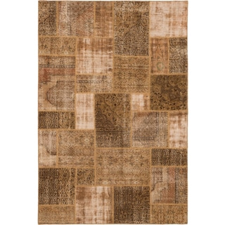 ecarpetgallery Color Transition Patch Brown Wool Rug (6'7 x 9'10)