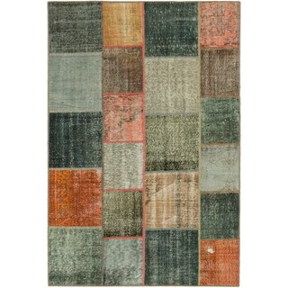 ecarpetgallery Color Transition Patch Grey/ Green Wool Rug (6'8 x 9'11)
