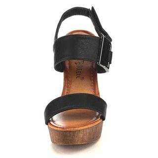 Beston EA93 Women's Flatform Metal Slingback High Chunky Heel Sandals