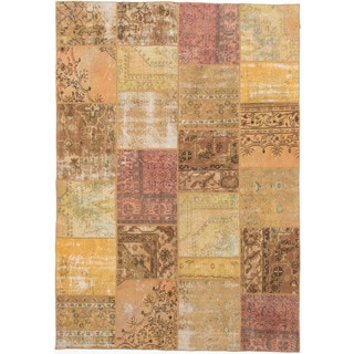 ecarpetgallery Color Transition Patch Brown Wool Rug (6'10 x 9'8)