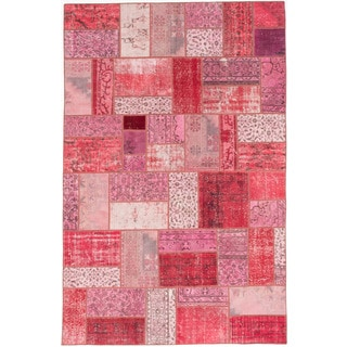 ecarpetgallery Color Transition Patch Pink/ Red Wool Rug (6'5 x 9'10)