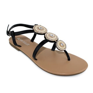 Olivia Miller 'Genoa' 3-Circle Multi Rhinestones Ornament Sandals