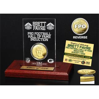 Brett Favre 2016 Pro Football HOF Induction Gold Coin Etched Acrylic