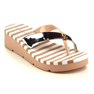 Beston EA89 Women's Metallic Thong Sandals