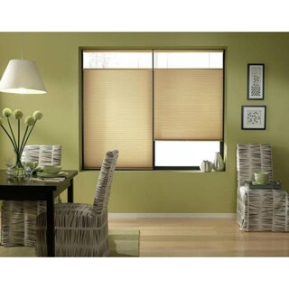 First Rate Blinds Leaf Gold Cordless Top Down Bottom Up 34 to 34.5-inch Wide Cellular Shades